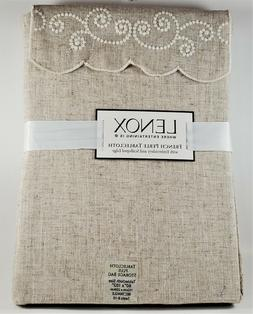 LENOX French Perle Tablecloth 60 In x 102 In Linen Natural P