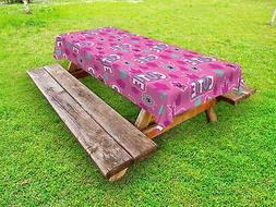 Fuschia Outdoor Picnic Tablecloth Crown Pattern Flower Print