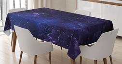 Ambesonne Galaxy Tablecloth, Celestial Stars in Night Sky St