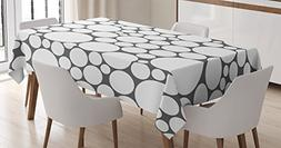 Ambesonne Geometric Circle Tablecloth, Retro Pattern with La