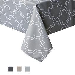 Eforcurtain Grey and White Trellis Tablecloths Spill Proof/S
