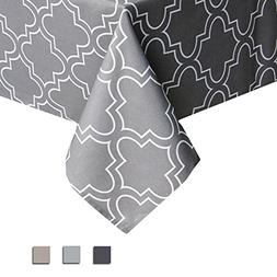 Eforcurtain Geometric White Quatrefoil Print Tablecloth Dura