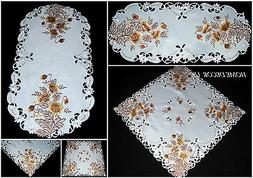Gold Poppy tablecloth,table runner, doily with embroidered f