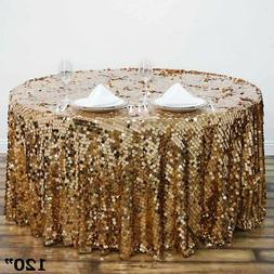 """GOLD ROUND 120"""" Large Payette Sequin TABLECLOTH Wedding Cate"""