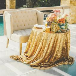 """120"""" Gold Round Sequin Tablecloth Wedding Party Decoration U"""