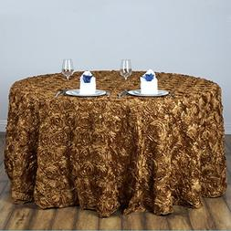 "BalsaCircle 120"" Gold Satin Raised Rosettes Round Tablecloth"