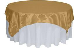 "Gold Satin Table Overlay 58"" X 58"" Square Tablecloth Cover,"
