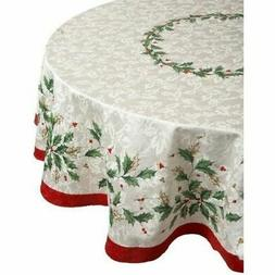 Lenox Golden Holly 60-inch by 84-inch Oval Tablecloth