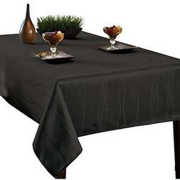 Benson Mills Gourmet Spillproof Fabric Tablecloth, Black, 60