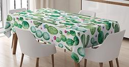 Ambesonne Green Decor Tablecloth, Mexican Texas Cactus Plant