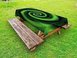 Green Outdoor Picnic Tablecloth Abstract Spirals Artsy Print