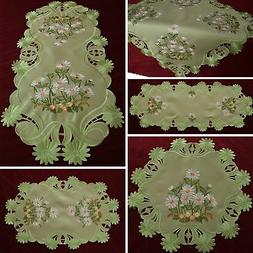 Green Table runner Tablecloth Doily White Marguerite Daisy F