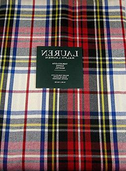 Ralph Lauren Gretchen Tartan Plaid Tablecloth Ivory 70 Round