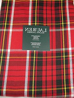 Ralph Lauren Gretchen Tartan Plaid Tablecloth Red 70 Round