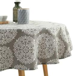 ColorBird Grey Medallion Tablecloth Cotton Linen Dust-Proof