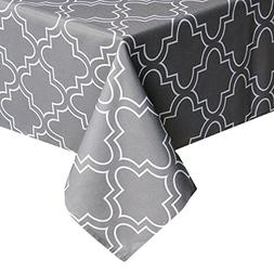 UFRIDAY Grey Tablecloth 52-Inch x 52-Inch Spill Proof, Print