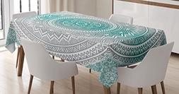 Ambesonne Grey and Teal Tablecloth, Mandala Ombre Design Sac