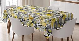 Ambesonne Grey and Yellow Tablecloth, Hand Drawn Sketchy Geo