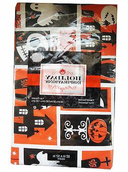 """Halloween Flannel Backed Vinyl Tablecloth 52 X 52"""" Square Pu"""