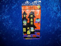"""HALLOWEEN HAUNTED HOUSE PLASTIC TABLECLOTH   54"""" BY 84""""  OBL"""