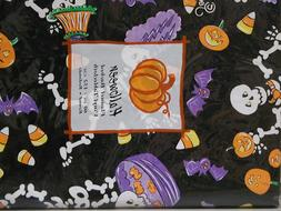 Halloween Vinyl Tablecloth 60 Inch Round Skeletons Bats Cand