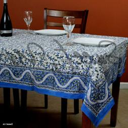 Hand Block Printed Cotton Floral Tablecloth Square Round 72