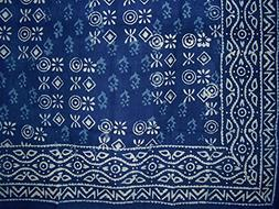 "Hand Block Printed Square Dabu Cotton Tablecloth 70"" x 70"" I"