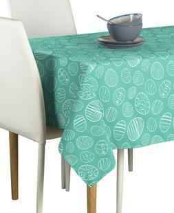hand drawn easter eggs teal signature tablecloth