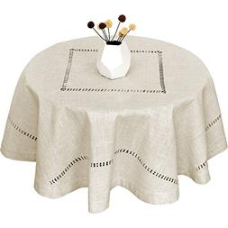 GRELUCGO Handmade Double Hemstitch Natural Tablecloth, Round
