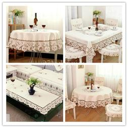 Handmade Embroidery Lace Rose Cutwork Tablecloth Home Dinner