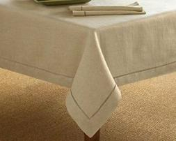 Handmade Hemstitch Design Natural Tablecloth. One Piece. 65""