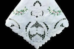 "Handmade Rosebud 72x144"" Embroidery Cutwork Tablecloth Napki"