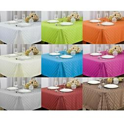 HARRIET FABRIC JACQUARD TABLECLOTH , 4 SIZES, WHITE, ORANGE,