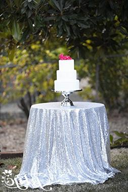 TRLYC Heavy Weight Round Silver Sequin Table cloth for Weddi