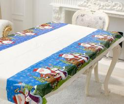 HMQC PVC Disposable Table Cloth Rectangle Cover For Christma