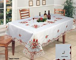 Creative Linens Holiday Christmas Embroidered Red Poinsettia