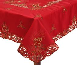 Holiday Christmas Poinsettia Bell Candle Tablecloth With Nap