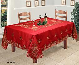 Creative Linens Holiday Christmas Tablecloth 70x120 with 12