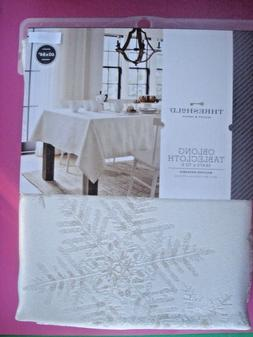 THRESHOLD HOLIDAY TABLECLOTH CREAM SHIMMERY SILVER SNOWFLAKE