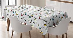 Ambesonne House Decor Tablecloth, Christmas Lights on String