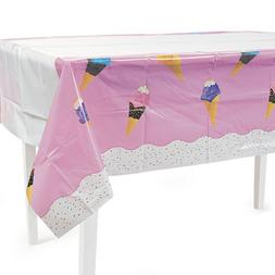 Ice Cream Plastic Tablecover Tablecloth Candy Confetti Cone