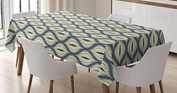 Ambesonne Ikat Decor Tablecloth, Wavy Round Colorful Damask