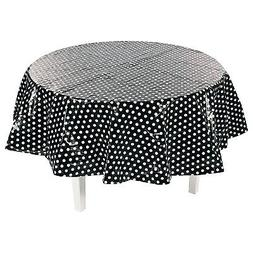 IN-13774231 Black Polka Dot Round Plastic Tablecloth 1 Piece
