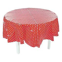 IN-13774816 Red Polka Dot Round Plastic Tablecloth 1 Piece 2