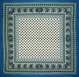 Indian Print Square Cotton tablecloth 60 x 60 Cerulean Blue