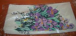 Novelty Inc Iris Flowers Paper Disposable Tablecloth  Set 2