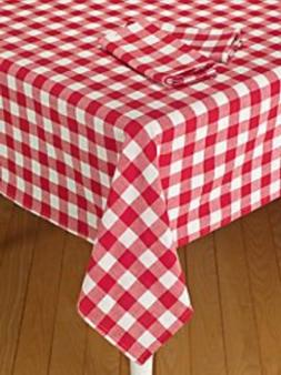 ArtOFabric Italian Styled Red and White Checkered Print Tabl