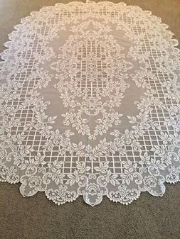 "Ivory lace Flower Trellis design Tablecloth 60"" x 84"" Oval"