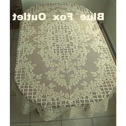 Ivory Lattice Of Roses Lace Tablecloth 60 x 84 Oval Wedding