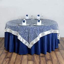 Efavormart Ivory Organza Embroidered Square Tablecloth Overl